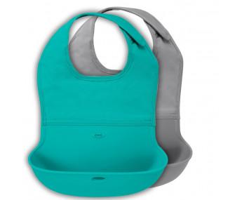 Conjunto Babador com Bolsa de Silicone OXO tot Azul